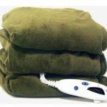 Biddeford Blankets Fleece Electric Heated Throw with Digital Controller – Moss Green