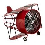 DecoBreeze Figurine Fan – Red Biplane