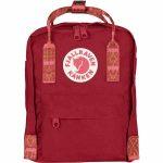 FjallRaven Kanken Mini Kids Backpack – Deep-Red/Folk-Patter